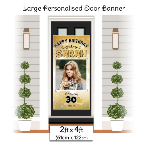 Personalised Happy Birthday Door PHOTO Banner Poster ~ Gold Sparkle N25